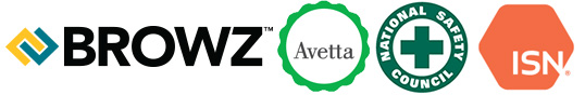 BROWZ, National Safety Council, Avetta, ISN logos